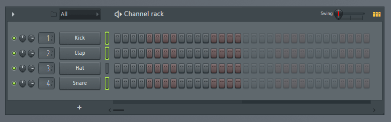 FL Studio select multiple channels in pattern view.