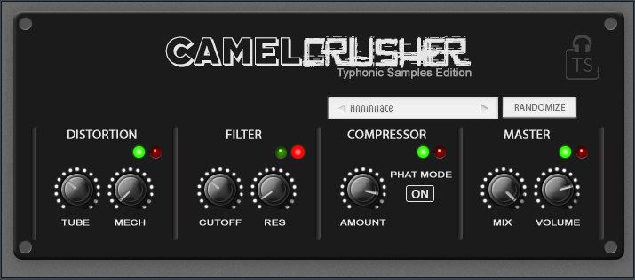 Typhonic Samples Custom Dark Skin for CamelCrusher Free Download Plugin VST