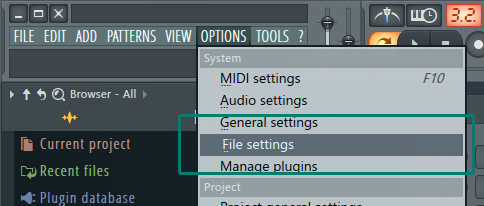 Step 1: Options - File SEttings Banner How to add Sample Library to FL Studio Tutorial Music Production Blog