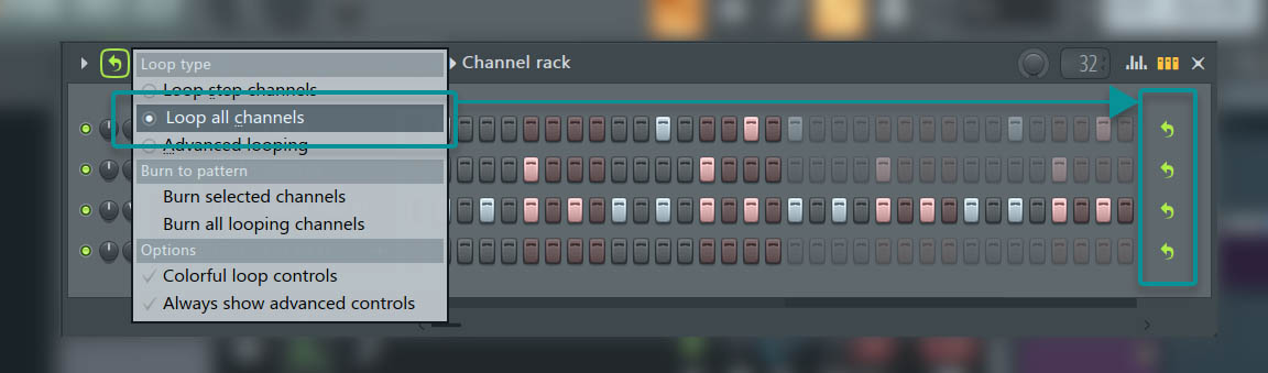 "FL Studio 20.1 Update - Channel Rack ""Loop All Channels"""