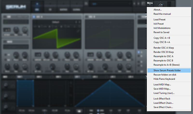 How to find your Serum presets folder