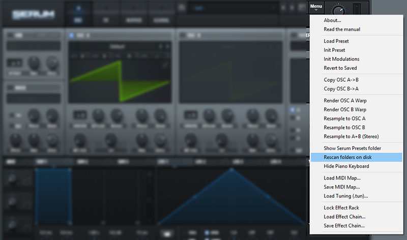 Rescan your Serum Presets folder