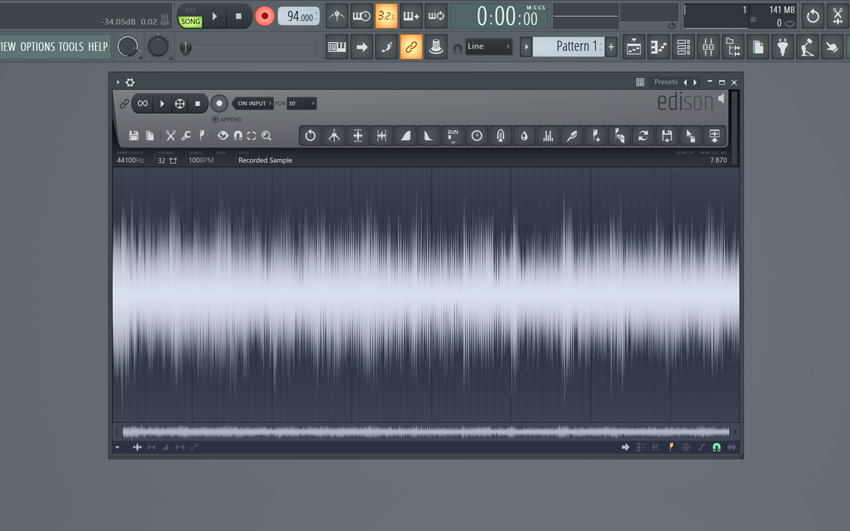 An recorded vinyl sample in FL Studio Edison
